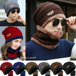 Mens Womens Winter Baggy Slouchy Knit Warm Beanie Hat and Sc